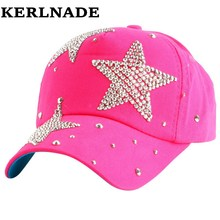 New fashion beauty cute children caps wholesale pretty design rhinestone star child kids boys girs baseball cap hats(China)