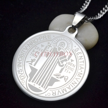 Men's SIlver Tone Stainless Steel Catholic Religious Patron Saint St. Benedict Holy Medal Pendant Necklace SS Curb Chain 60CM(China)