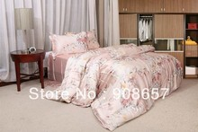 luxurious  Smooth imitated silk fabric bedding set light pink floral pattern bed in a bag queen/full duvet covers sets bed linen