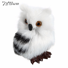 "Kiwarm Cute Lovely Owl White Black Furry Christmas Bird Ornament Decoration Adornment Simulation H2.75"" for Home Decor Kids Gift"