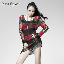 Punk Gothic SWEATER Visual Kei fashion Kera Red Shirt Top TOP Black Steampunk pullover(China)