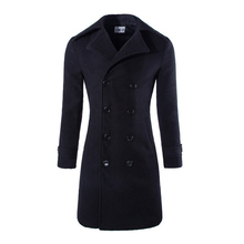2015 new men wool coat double-breasted long woolen winter peacoat jaqueta masculina 3 colors M-XXXL CY038A