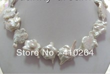 free shipping $wholesale_jewelry_wig$  AMAZING 25x35mm white SOUTH Reborn keshi baroque pearls necklace