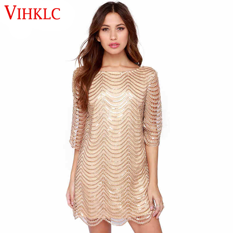 VIHKLC 2017 New Fashion Dress Women O-Neck Long Sleeve paillette Sequins Brand Bodycon Rose Gold Nude Midi Sequin Dress A6(China (Mainland))