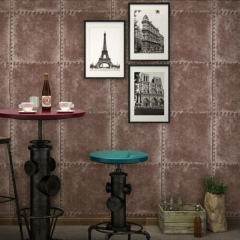 Vintage Wallpaper  Industrial Wind Metal Wallpapers Personality Lattice Clothing Shop Bar Cafes Internet Cafes Wallpaper<br>