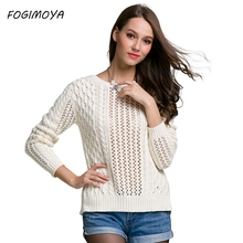 FOGIMOYA Sweater Women Autumn Hollow Out Computer Knitted Sweater O Neck Lace Up Women's Long Sleeve Backless Tops 2017(China)