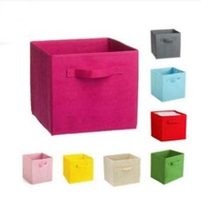 New 1 Pc 12 colors 26*26*26cm Room Organizer Cube Foldable Storage Clothes Books Folding Box Home Fabric(China)