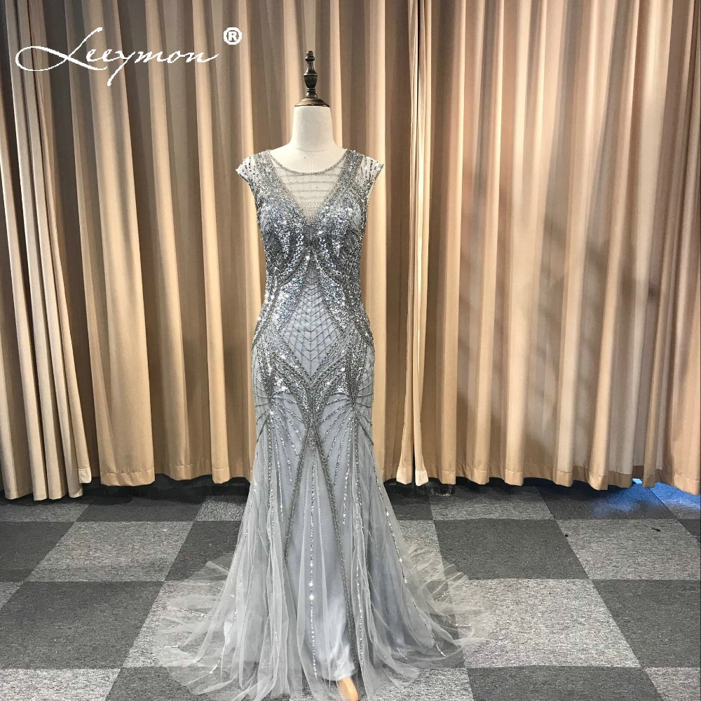 2019 Mermaid Full Beading Evening Dresses Ready to Send Silver Gray Dress in Stock New Dress Sleeveless Sweep Train