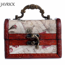 JAVRICK 1Pc Vintage Stamp Small Metal Lock Jewelry Treasure Chest Case Wooden Box New ZB380