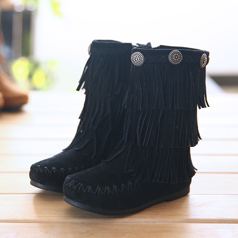 Fashion Genuine leather Fringe Children Boots with Fur Kids Boots kids shoes Thickening Girls Snow Boots<br>