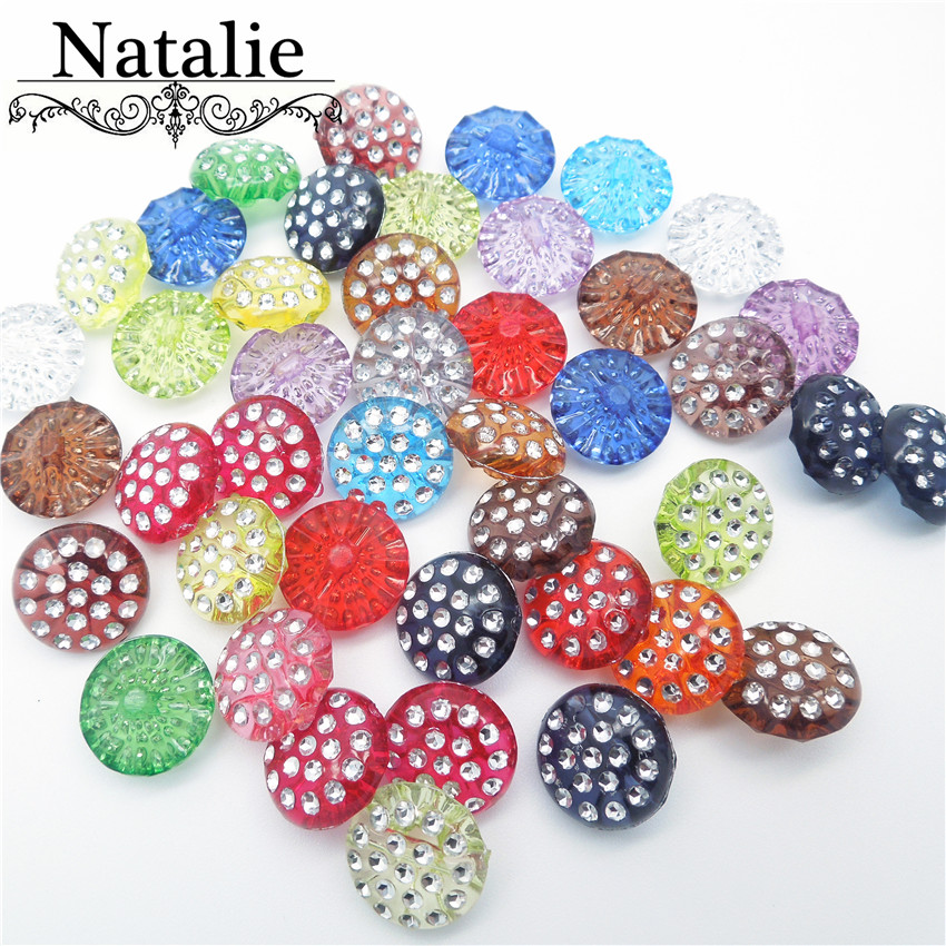 50pcs 12.5mm AB Round Transparent acrylic flower Mushroom shape rhinestone buttons Sewing Accessories For Clothing diy Plastic(China)