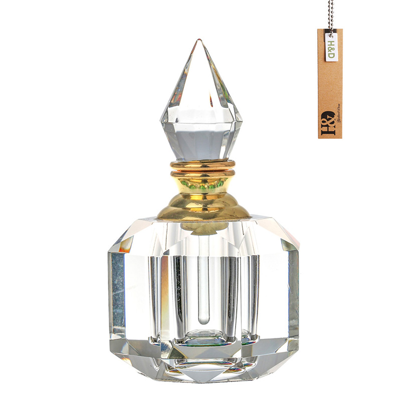 3ML Clear Woman Perfume Bottle K9 Crystal Refillable Vintage Arc-shaped Aurora Borealis Empty Container w/gold Trim Glass Dauber<br><br>Aliexpress