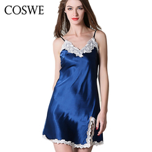 COSWE XXL Womens Silk Nightgowns Women Lace Homewear Sexy Nightdress Female Nightwear Plus Size Womans Sleepwear Ladies Lingerie(China)