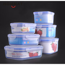 Set of 3 PCS Plastic Kitchen Storage Boxes Lunch Boxs Airtight Seal Food Storage Container Fruit Cereals Grains Box with Lid(China)