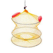 Sea Fishing Boat Cylindrical Red Floats Bait Keep Net Sea Fishing Net-Yellow Hex Mesh Hole Flexible Frame Convenient For Fish