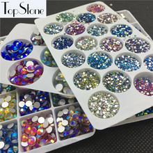 All Size Rest Colors AB SS3-SS34 Glass Crystal Flatbacks Nail Art Non Hotfix Rhinestone Glue On 3D Nails gems Jewelry Decoration(China)