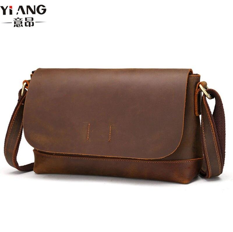 High Quality Crazy Horse Genuine Leather Cowhide tide Men Vintage Business Travel Casual Crossbody Shoulder Bag Briefcase<br>