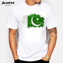 BLWHSA Brand-clothing Summer Men T Shirt Pakistan Flag Print Cotton Nostalgic Style Man T-shirts Pakistan Fans Cheer Men Tops