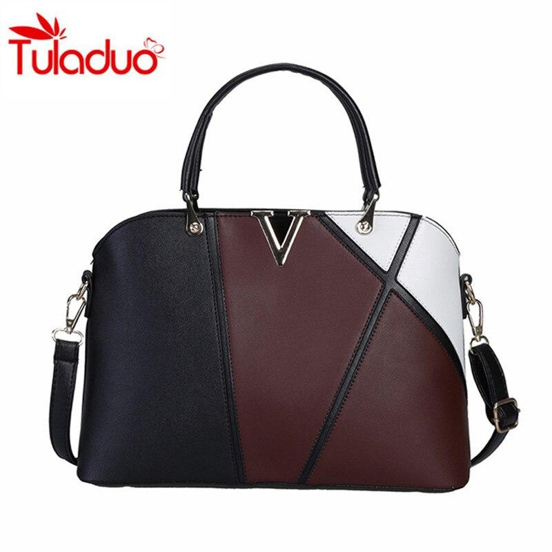 V Letter Fashion Stitching Hit Color Handbags Shell Bags OL Women Handbag 2017 Spring  Female Bag Ladies Shoulder Messenger Bag<br><br>Aliexpress