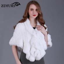 ZDFURS * Handmade real knitted rabbit fur cape ruffle hem Women Genuine  fur shawl Wrap cloak batwing stole  ZDKR-165024