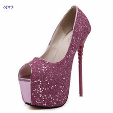 CDTS Plus:34-40 Summer Bling Sandals sexy paillette 16cm ultra high special shaped thin heels Open Toe shoes woman pumps
