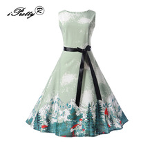 iPretty women dress New Arrival 2017 Christmas Tree Print Vintage Sleeveless A Line Autumn 50s 60s Rockabilly Party Dresses(China)