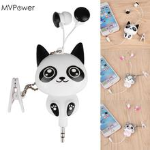 MVpower Lovely Cute Cartoon Cat Panda 3.5mm Wired Retractable Handsfree Earphones Earbuds Music Headset MP3 Headphones Hot(China)