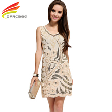 European Summer 2017 Fashion Paillette Sexy Club Wear Dress Women Sleeveless Beige Sequin Tank Dress Party