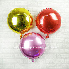 25pcs/lot 18'' The Pure color Foil Balloon Soccer Ball Round Helium Ballons Mylar Globos Size 45x45cm