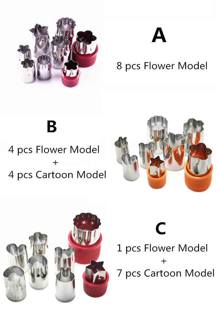 8pcs/Set Stainless Steel Puzzle Fruit Vegetable Cutter Kitchen Tools Mold Flower Shape Cookie Fondant Pastry Mould Accessories 5