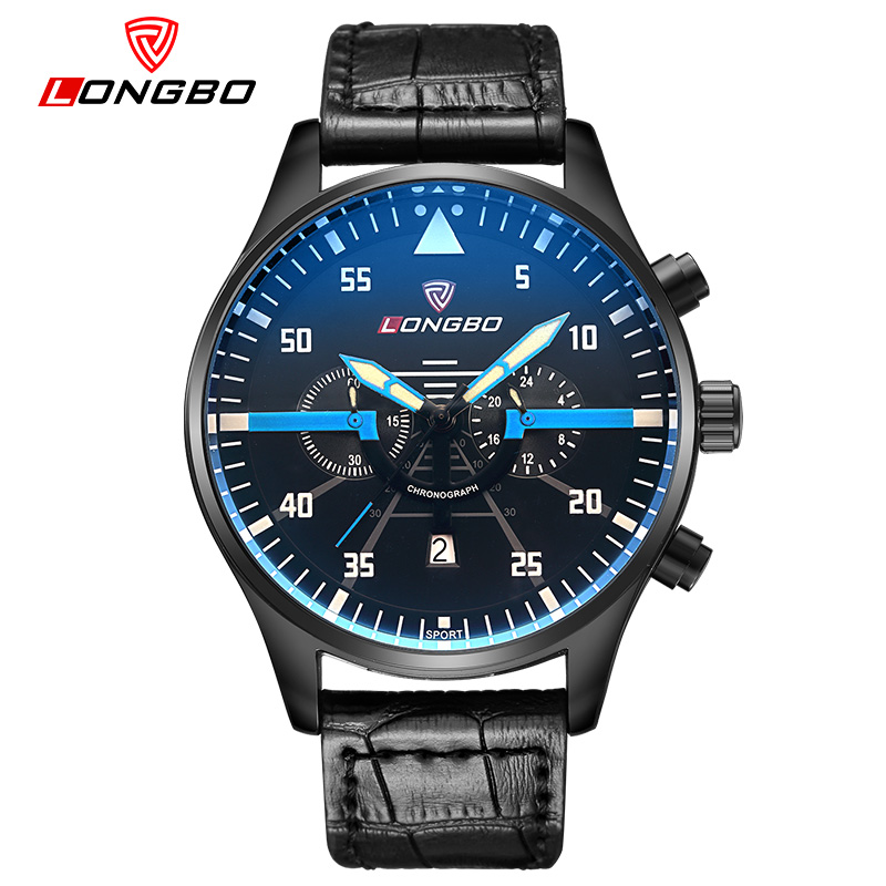 Classic Mens Watch Big Dial Black Leather Band Luminous Watches Men New LONGBO Brand Mechanical Canlendar Sport Army Wristwatch<br><br>Aliexpress