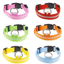New Pet Luminous Collar Nylon Safety Pet Collar For Lighted Up Nylon Solid LED Dog Collar Glow Necklace S~XL Wholesale &915(China)
