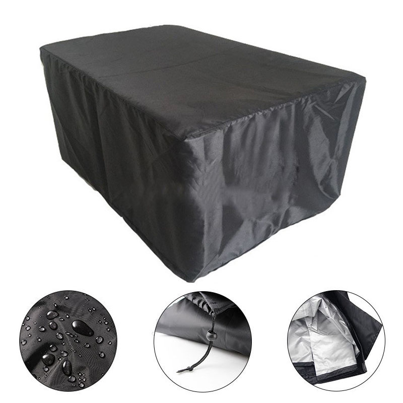 Black Large Waterproof Shelter Rain Cover For Outdoor Cube Round Table Furniture