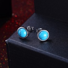 2017 Vintage Silver color Earrings Female Girl Round Kallaite Stone Turquoises Stud Earrings For Women Ear Piercing Accessories