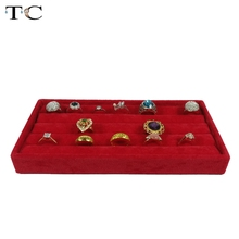 Red Velvet Ring Display Tray Compartment Jewellery Storage Box 11*22*3cm