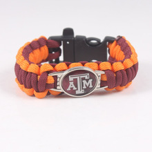 Texas A&M Aggies NCAA College Football Bracelet Customized Bracelet Man And Women Paracord Bracelet With Whistle(China)