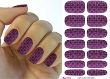 K5643 Free Shipping Nail Tool Purple Plaid Design Water Transfer 3d Nail Art Sticker Fashion Manicure Decoration Decals