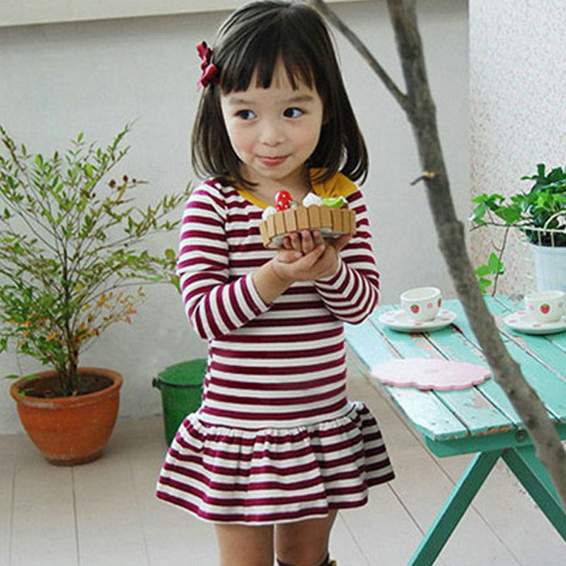 Toddler Kids Girls Dress Cute Cotton Stripe Long Sleeve Princess Clothes New<br><br>Aliexpress