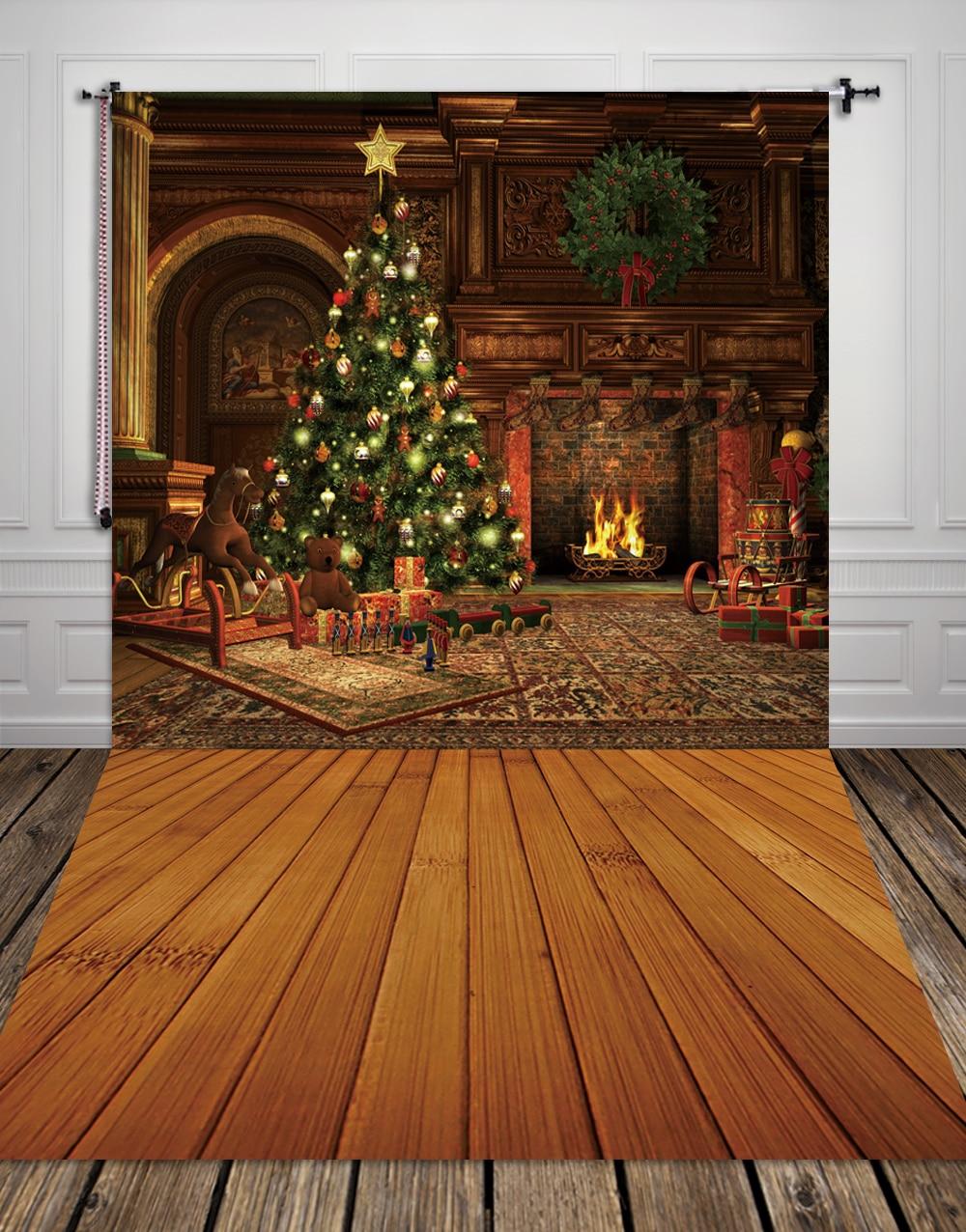 HUAYI Fireplace Christmas tree Photography Photo Backdrop xt2294<br><br>Aliexpress