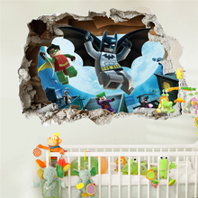 Lego Batman Super Heros Broken Wall Stickers Kids Room Decoration Movie 3d Mural Art Cartoon Avengers Home Decals