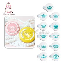 11Pcs/Set Crown Cookie Stencil Coffee Decorative Stencil for Baking Mold Plastic Stencil for Cupcake Decorating Stencil ST-878