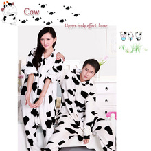 Adult Unisex Flaneel Fleece Furry Lovely Cow Cosplay Costume Pajamas Jumpsuit Animal Suits Onesies Pyjamas Halloween Party Dress(China)