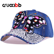 CRUOXIBB Baseball Cap Women Full Crystal Colorful Big Butterfly Hat  Denim Bling Rhinestone Snapback Cap Casquette Summer Hat