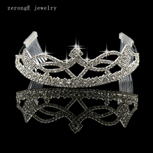 Retail pageant silver rhinestone tiara bridal queen hair comb tiara crystal wedding queen crown tiara custom design 12pcs(China)