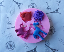 Four Animal Cow/ Deer/Horse/Sheep Shape Silicone Mold Cake Decorating,Cup Cake, Lace Mold G026(China)
