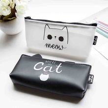 YIYOHI Women Cosmetic Bags Travel Organizer Necessary Beauty Cat Case PU Toiletry Bags Makeup Bag Bath Wash  Pencil Bag