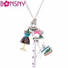 Bonsny Statement Chain Enamel Tailor Sewing Machine Scissors Ruler clothes stand Necklace Pendants Fashion Jewelry For Women(China)