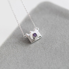 Flyleaf Mini Camera 925 Sterling Silver Necklaces & Pendants For Women Fashion Purple Crystal Rhinestone Jewelry Bijoux Femme(China)
