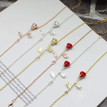 New Rose Bracelet Simple Charms Flower Alloy Bracelets Accessories Design for Sophisticated Women 3 Colors 6 Kinds Optional(China)