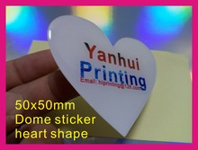 50mm heart shape epoxy dome sticker printing custom